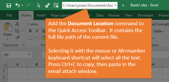 Document Location Command in Quick Access Toolbar contains the Full File Path