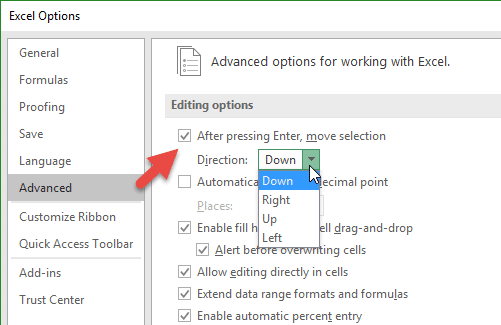 Excel Enter Key Direction Excel Options Menu