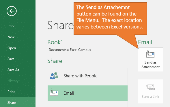 Excel Send as Attachment Button