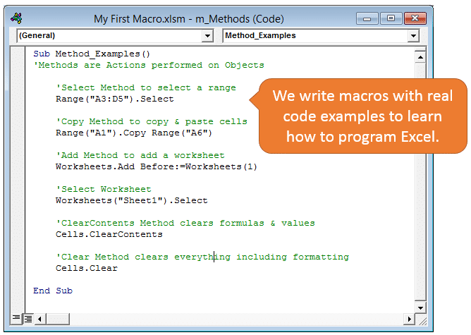 Intro To Macros and VBA Module 1 Code Examples