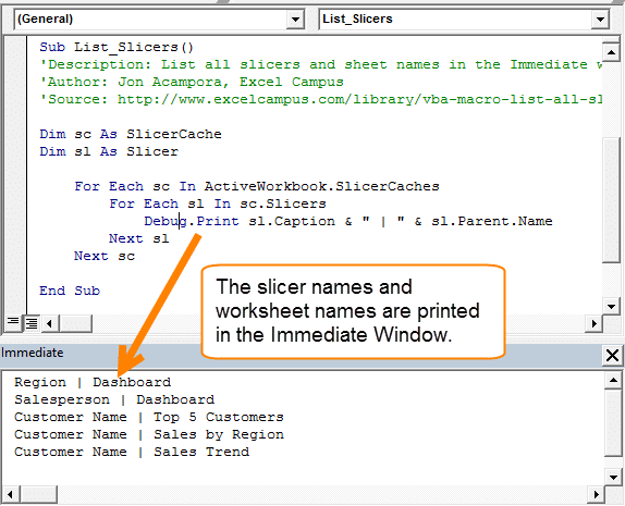 How to List All Slicers in the Excel Workbook with VBA Excel Campus – Excel Worksheet Name