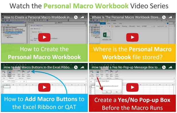 Personal Macro Workbook Video Series