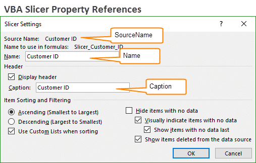 Slicer Settings Window VBA Slicer Property References