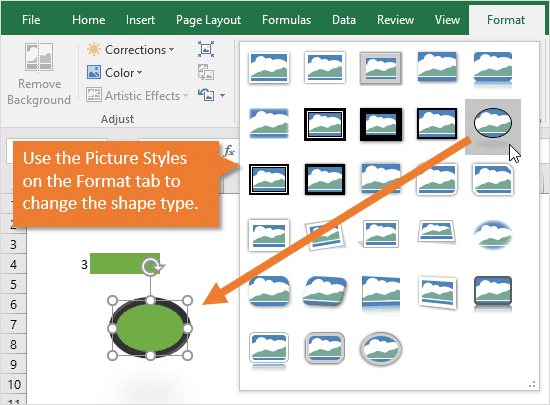 Use the Picture Styles to Change the Shape Type for the Conditionally Formatted Shape