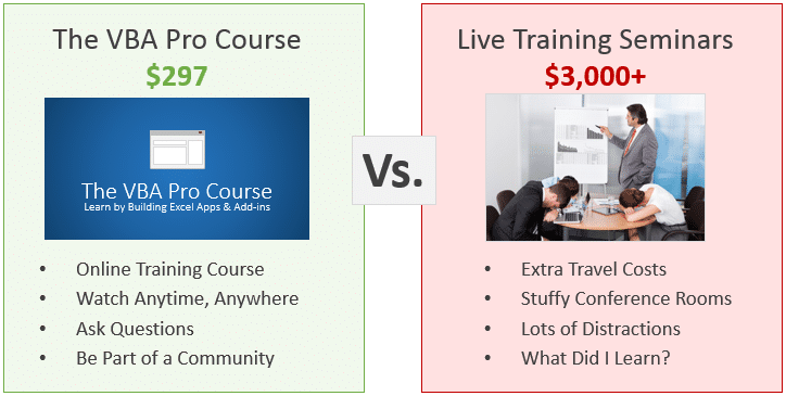 VBA Pro Course vs Live Seminars