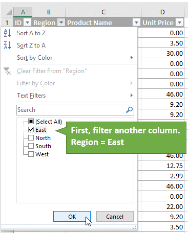 Apply a Filter to Another Column First