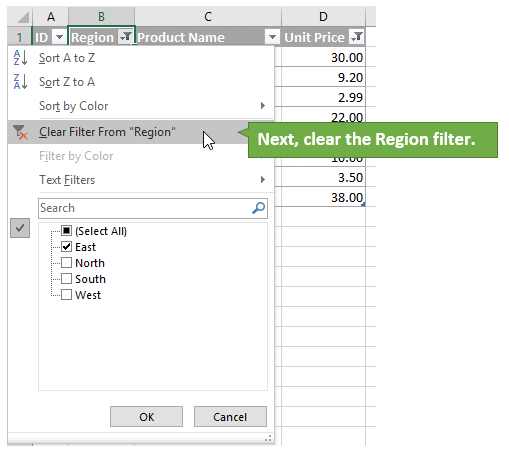 Clear the Region Filter from the Column that was Filtered First