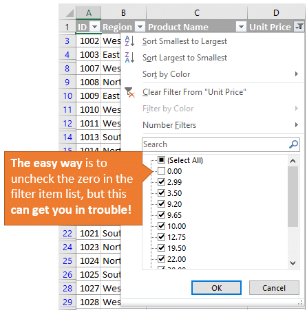 Easy Way to Filter Out Zeros with Filter Item List Box