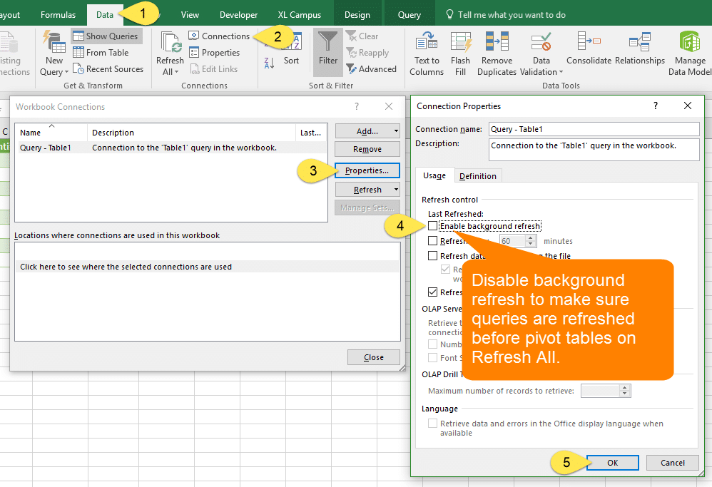 Disable Background Refresh on All Power Query Connections - VBA
