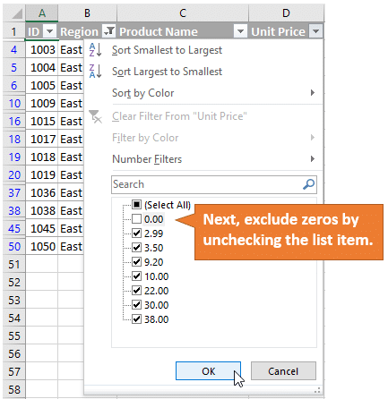 Exclude Zeros by Unchecking Filter List Item