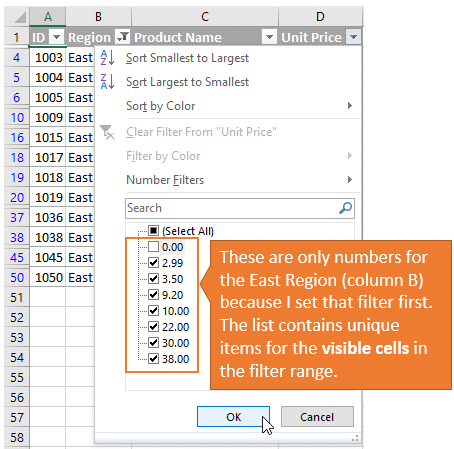 Filter Drop Down Item List Only Contains Numbers for the Visible Cells