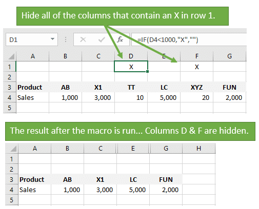 Vba macro to hide all columns that contain a value in a cell excel hide all columns that contain a value excel vba macro before and after ccuart Image collections