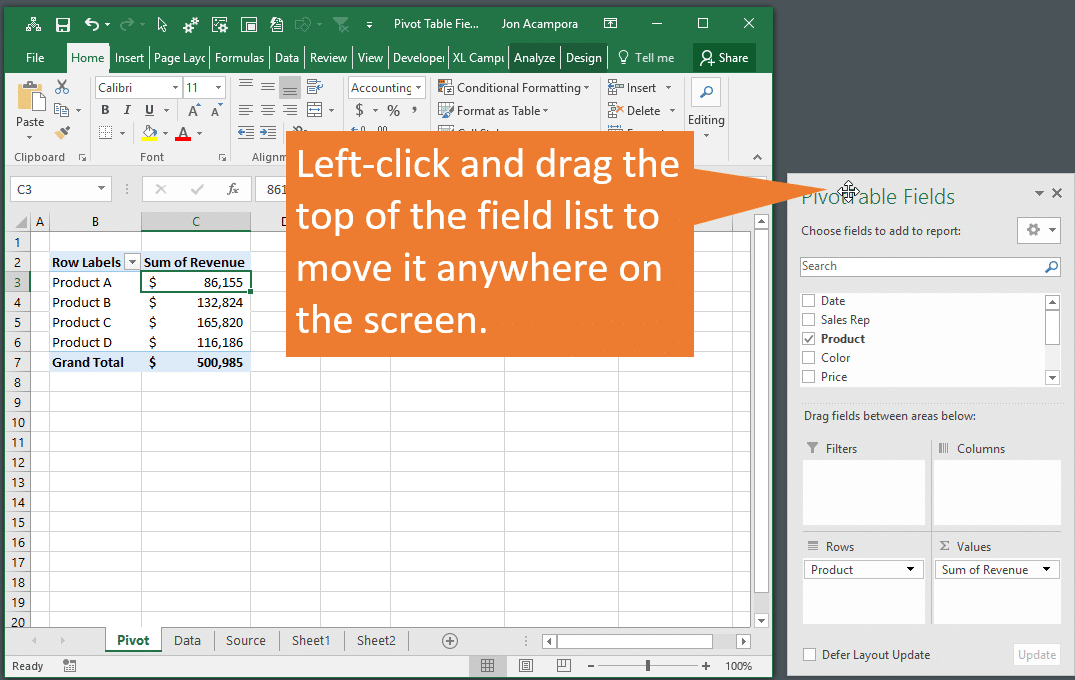 Move the Pivot Table Field List Anywhere Outside Excel Application Window
