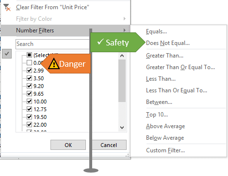 Number Filters vs Item List for the Filter Drop-down Menu in Excel