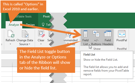 Pivot Table Field List Missing - Show from the Excel Ribbon Field List Toggle Button