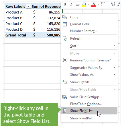 Pivot Table Field List Missing - Show from the Right-Click Menu