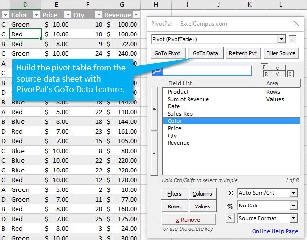 PivotPal - Build and Modify Pivot Tables from the Source Data Sheet