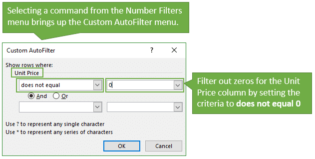 The Custom AutoFilter Menu to Exclude or Filter Out Zeros