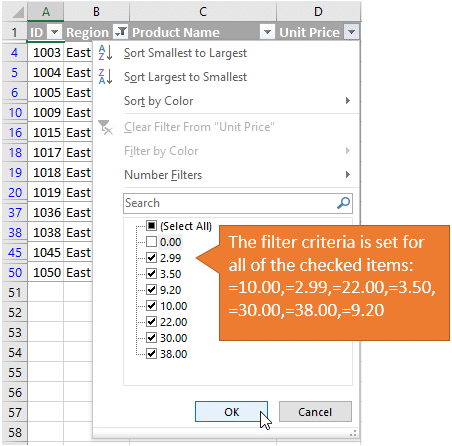 how to create a drop down list in numbers files