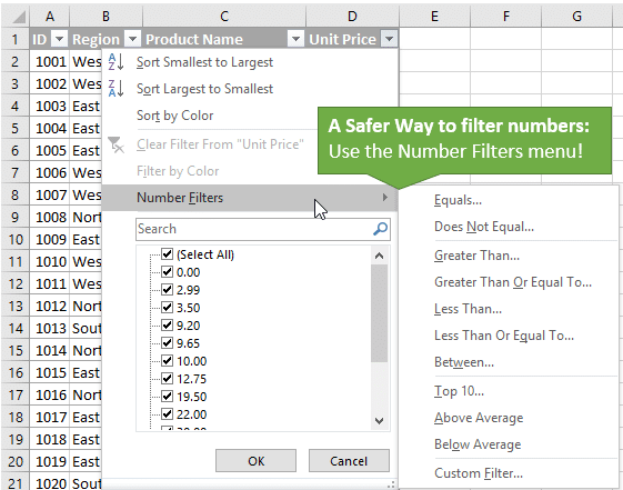 Use the Number Filters Menu to Filter Numbers - The Safer Way
