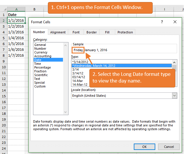 View the Lond Date Format in the Format Cells Dialog Window