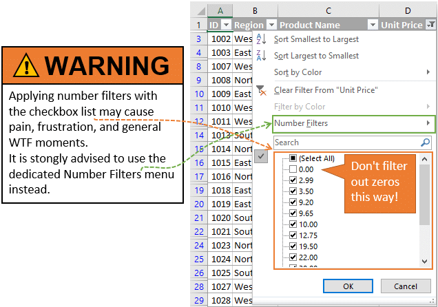Warning - Do Not Use the Filter List Checkboxes to Filter Numbers in Excel