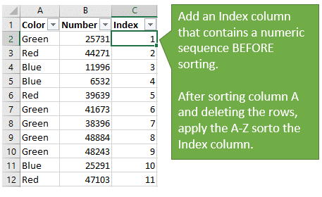 Add an Index Column Before Sorting Filtering and Deleting Rows to Retain Sort Order