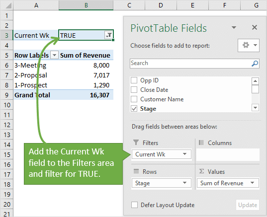 Add the Current Week Field to Filters Area and Filter for TRUE