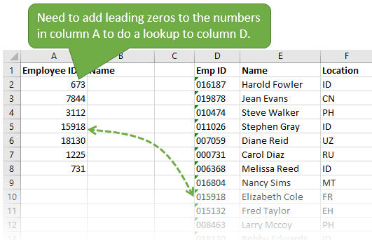 Add the leading padding zeros back to do lookup to numbers stored as text