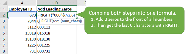 Combine the leading zeros concatenation and RIGHT function into one formula