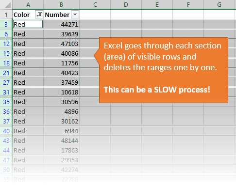 Deleting Unsorted Rows Can Take A Long Time in Excel