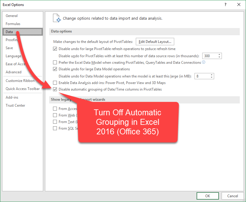 Disable Automatic Date Grouping in Excel 2016 from Excel Options Menu