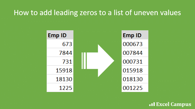How to add leading zeros padding to a list of uneven length values in Excel