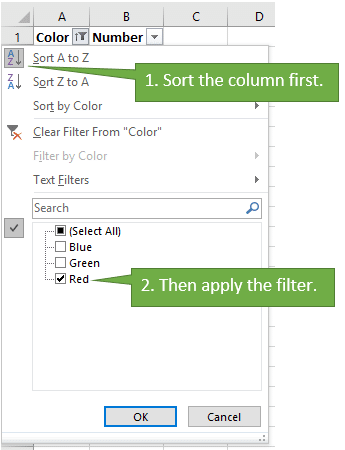 Sort Column Before Filtering to Delete Rows