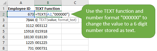 TEXT function to add leading zeros - padding - to numbers