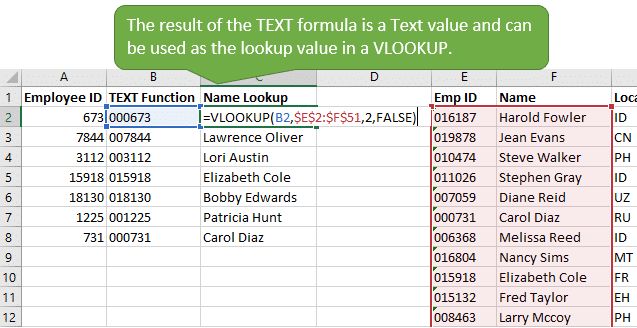 The TEXT formula result for leading zeros is a text value that can be used in a vlookup formula