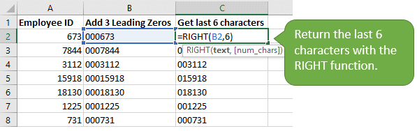 Use the RIGHT function to return the last 6 characters of numbers with leading zeros
