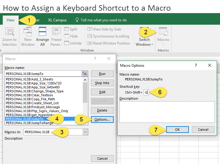 How to Assign a Keyboard Shortcut to a Macro View Tab