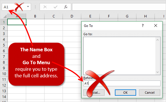 Name Box and Go To Menu Require the Full Cell Address 2