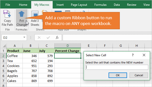 Add Custom Ribbon Button to Run the Macro on Any Workbook