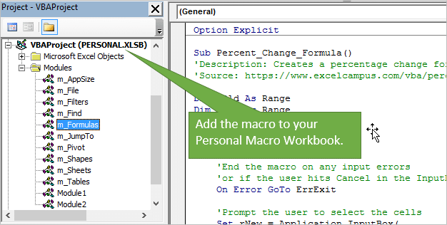 Add the Percentage Change Formula Macro to your Personal Macro Workbook