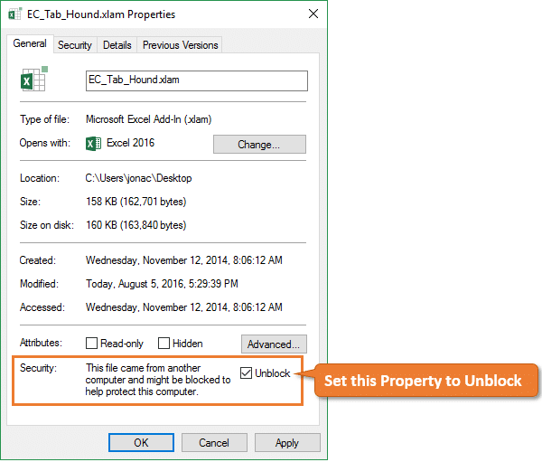 Security Unblock Property for Excel Add-in - Ribbon Disappears