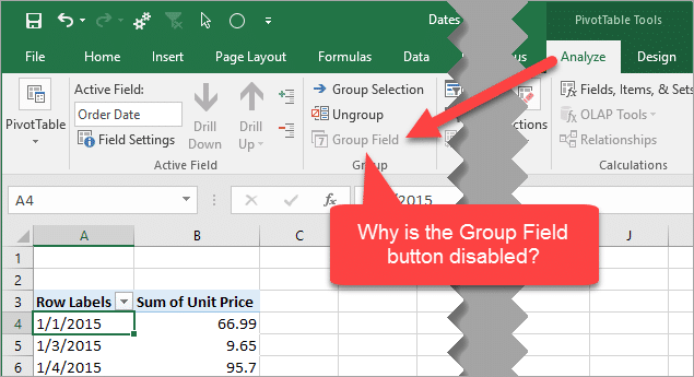 Why the Pivot Table Group Field Button is Disabled for Dates - Excel