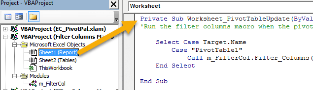 PivotTableUpdate Event in Sheet Code Module