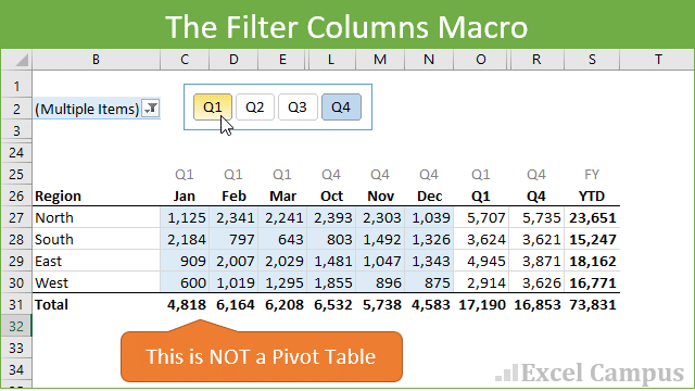 Hide & Unhide (Filter) Columns with a Slicer or Filter Drop