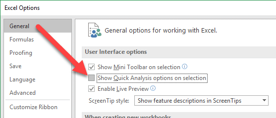 Turn Quick Analysis Off in Excel Options Menu