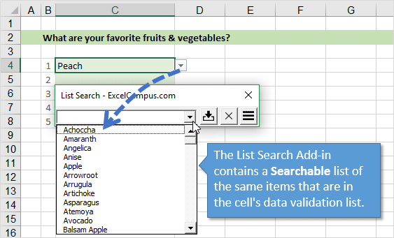 How to search data validation drop down lists in excel excel campus list search add in drop down list contains data validation list of items ibookread Read Online