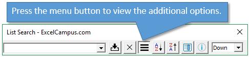 List Search Add-in Menu Button Options