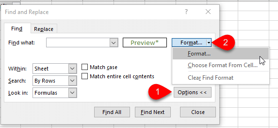 Find Cell Formatting in Excel with Find Window Ctrl F