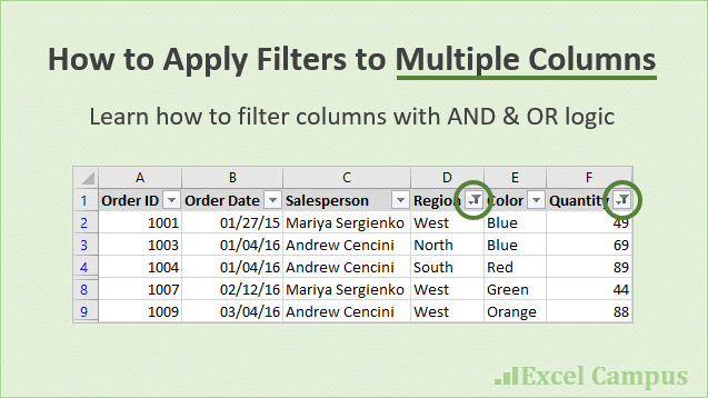how to filter multiple columns in excel